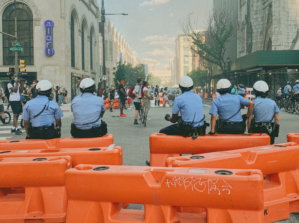Philadelphia police sitting on road blocks